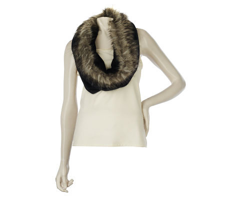 Dennis Basso Faux Fur Trimmed Neck Warmer