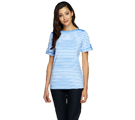 Denim & Co. Short Sleeve Boatneck Stripe Top