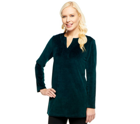 Susan Graver Velour Long Sleeve V-neck Tunic