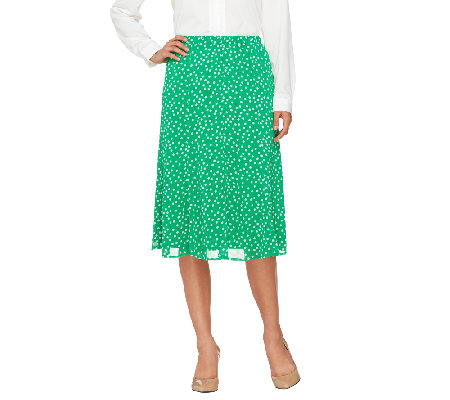 Liz Claiborne New York Pull-on Polka Dot Chiffon Skirt