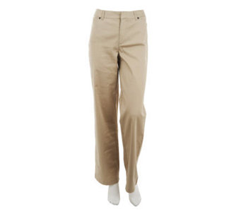 Liz Claiborne New York Stretch Cotton Sateen Trouser Pants - A232334
