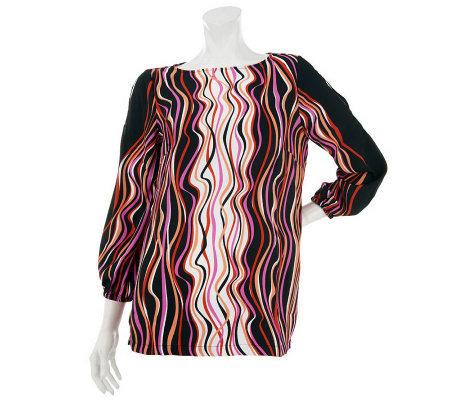 Bob Mackie's Cold Shoulder Printed Top w/ Scoopneck & Button Detail
