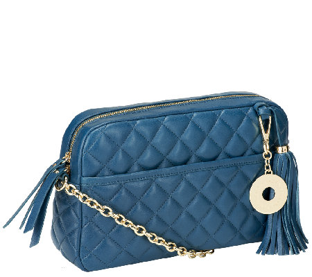 Isaac Mizrahi Live! Bridgehampton Lamb Leather Quilted Handbag