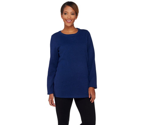 Denim & Co. Active Long Sleeve Sweater Fleece Sweatshirt