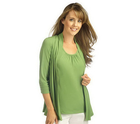 """As Is"" Susan Graver Liquid Knit Cardigan & Tank Set with Ruched Sleeves"