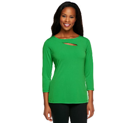 Susan Graver Liquid Knit 3/4 Sleeve Bateau Neck Top w/ Neck Detail