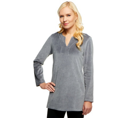 """As Is"" Susan Graver Velour Long Sleeve V-neck Tunic"
