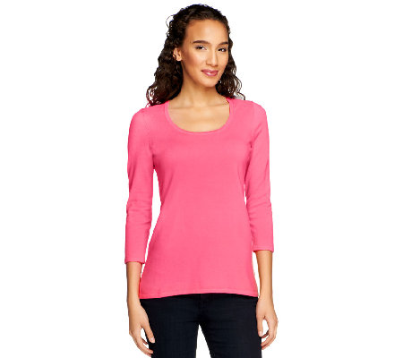 Susan Graver Essentials Stretch Cotton Scoop Neck Sweater