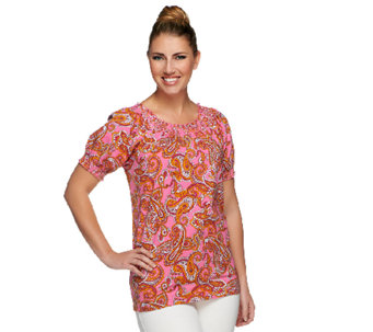 Denim & Co. Perfect Jersey Paisley Print Top w/ Smocking Detail - A251634