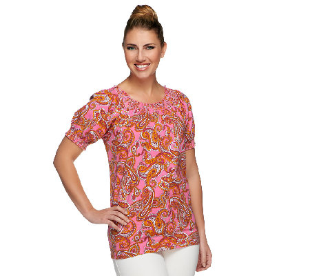 Denim & Co. Perfect Jersey Paisley Print Top w/ Smocking Detail