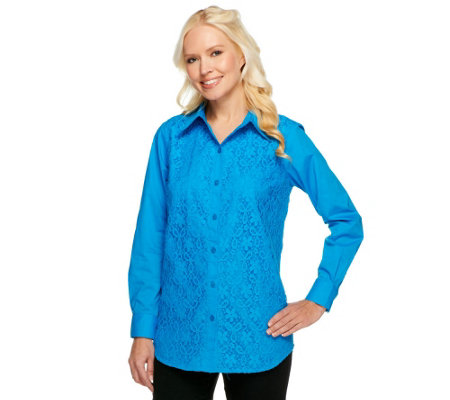 Joan Rivers Lace Front Boyfriend Shirt w/ Long Sleeves