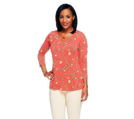Susan Graver Liquid Knit Printed Top with Keyhole Detail