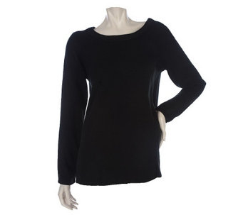 """As Is"" Susan Graver Essentials Knit Jewel Neck Sweater - A255234"