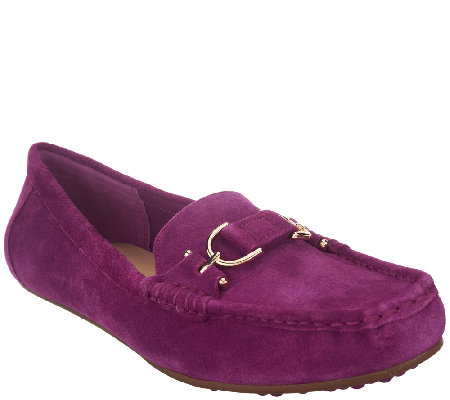 Isaac Mizrahi Live! Suede Moccasins with Horsebit Detail