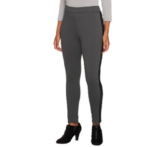 Joan Rivers Petite Ponte Knit Slim Pants w/ Faux Leather Detail - A258934