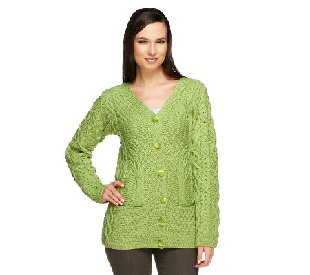 """As Is"" Kilronan Merino Wool Tree of Life Button Front Cardigan"