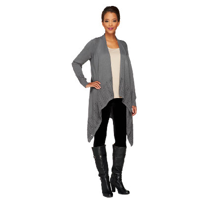 Denim & Co. Drape Front Cardigan with Pointelle
