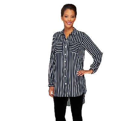 Susan Graver Printed Stretch Woven Boyfriend Shirt w/ Hi-Low Hem