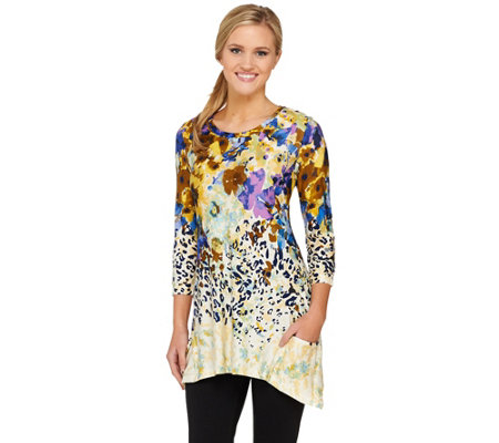 LOGO by Lori Goldstein 3/4 Sleeve Floral Animal Print Knit Top