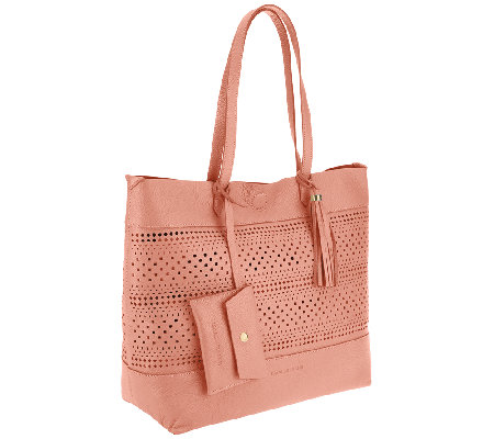 Isaac Mizrahi Live! Bridgehampton Leather Cut-out Tote