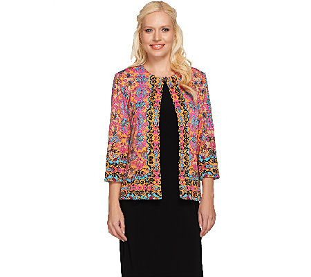 Joan Rivers Vintage Scroll Jersey Knit Jacket with 3/4 Sleeves