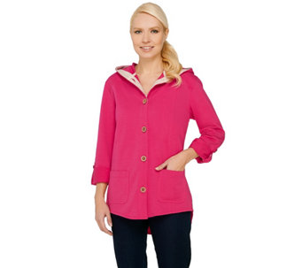 Susan Graver Weekend French Terry Roll Tab Sleeve Jacket - A265734