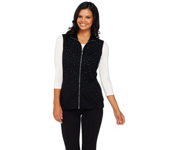 Quacker Factory Multi-Spray Zip Front French Terry Vest - A267234