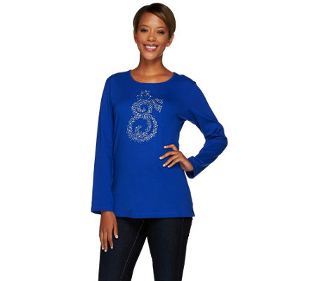 Quacker Factory Magical Swirl Holiday Long Sleeve Top