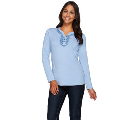 Denim & Co. Solid Henley Long Sleeve Top with Embroidery
