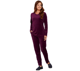 Denim & Co. Active Regular Velour Tunic and Pant Set w/ Quilting Detail - A270334