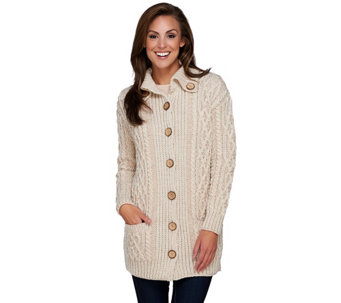 Kilronan Merino Wool Buttoned Collar Plaited Long Cardigan - A271234