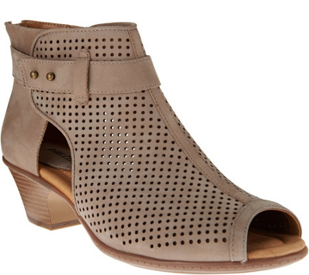 Earth Suede Perforated Peep-toe Booties - Intrepid