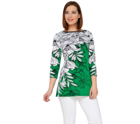 Susan Graver Printed Liquid Knit 3/4 Sleeve Tunic