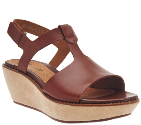 Clarks Leather T-strap Wedge Sandals - Hazelle Amore