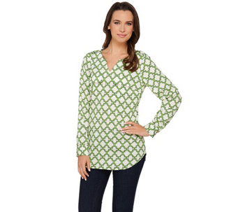 "C. Wonder Trellis Print Long Sleeve Woven ""Caitlin"" Blouse - A275634"