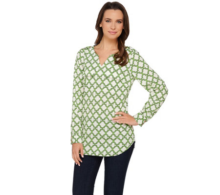 "C. Wonder Trellis Print Long Sleeve Woven ""Caitlin"" Blouse"