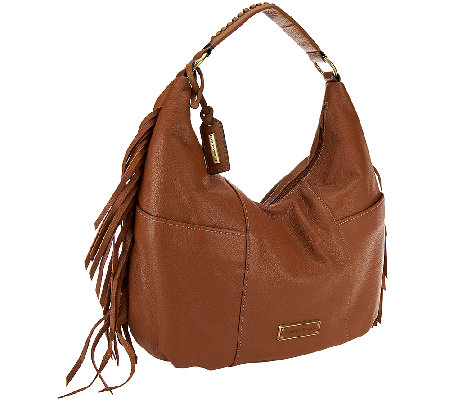 """As Is"" Tignanello Pebble Leather Zip Top Hobo Bag w/ Fringe"