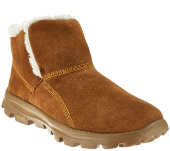 """As Is"" Skechers GOwalk Suede Faux Fur Boots w/ Memory Form Fit - A276534"