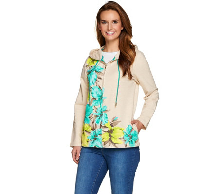 Susan Graver Weekend Printed French Terry Hooded Jacket