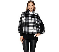 Lisa Rinna Collection Plaid Capelet with Button Closure - A278934