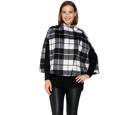 Lisa Rinna Collection Plaid Capelet with Button Closure