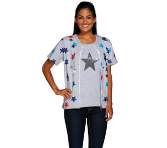 """As Is"" Quacker Factory Short Sleeve Zip Front Jacket & Star Tank - A279534"