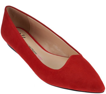"""As Is"" Isaac Mizrahi Live! Suede Pointed Toe Ballet Flats - A281034"