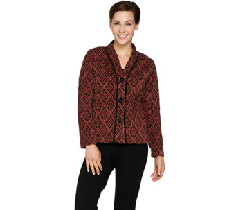 Bob Mackie's Button Front Printed Fleece Jacket with Pockets - A283734