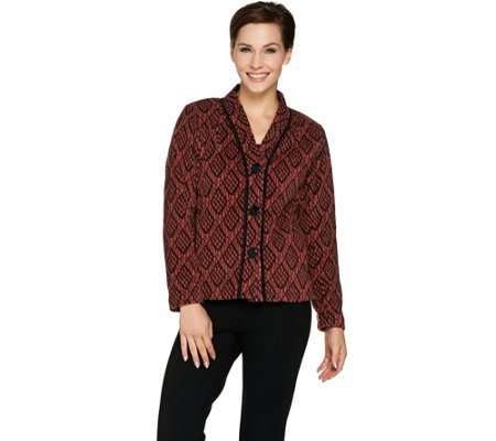 Bob Mackie's Button Front Printed Fleece Jacket with Pockets