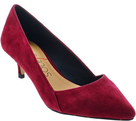"""As Is"" Sole Society Suede Pointed Tow Kitten Heel Pumps - Desi"