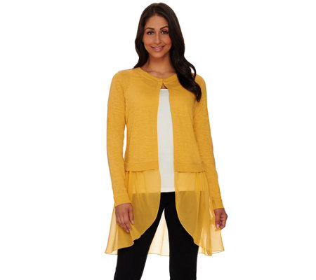 """As Is"" LOGO by Lori Goldstein Slub Knit Cardigan with Chiffon Trim"