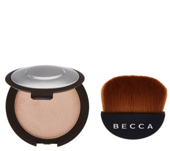BECCA Shimmering Skin Perfector Pressed w/ Half Moon Brush - A284934
