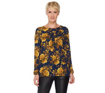 Susan Graver Printed Feather Weave Top with Shoulder Trim - A285034