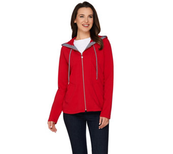 """As Is"" Susan Graver Weekend French Terry Hooded Jacket - A285634"